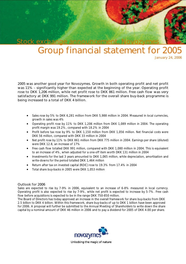 Stock exchange announcement, Novozymes               Group financial statement for 2005                                   ...