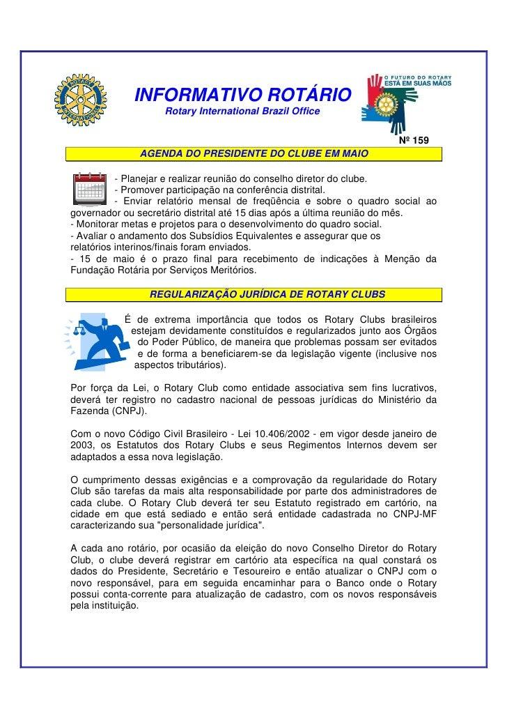 Novo informativo de rotary 1nternational nº 159