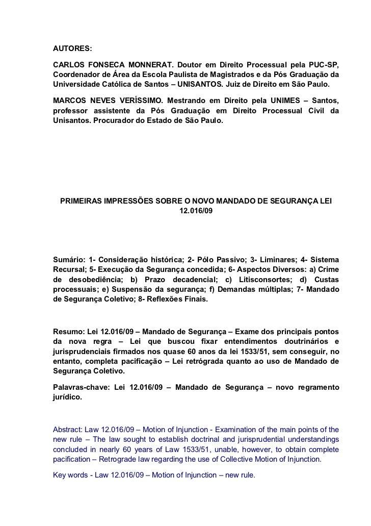 Primeiras impressões sobre o novo mandado de segurança lei 12.016/09