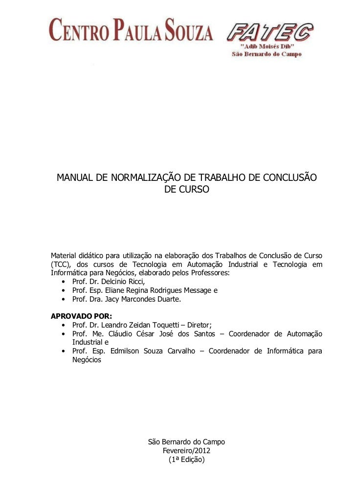 MANUAL DE NORMALIZAÇÃO DE TRABALHO DE CONCLUSÃO                    DE CURSOMaterial didático para utilização na elaboração...