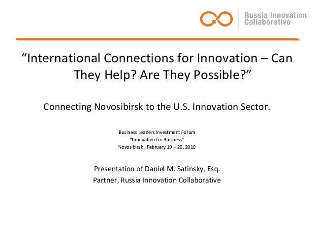 """International Connections for Innovation – Can they help? Are they feasible?"""