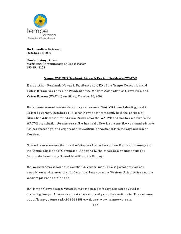 For Immediate Release: October 21, 2009  Contact: Amy Richert Marketing/Communications Coordinator 480-894-8158           ...