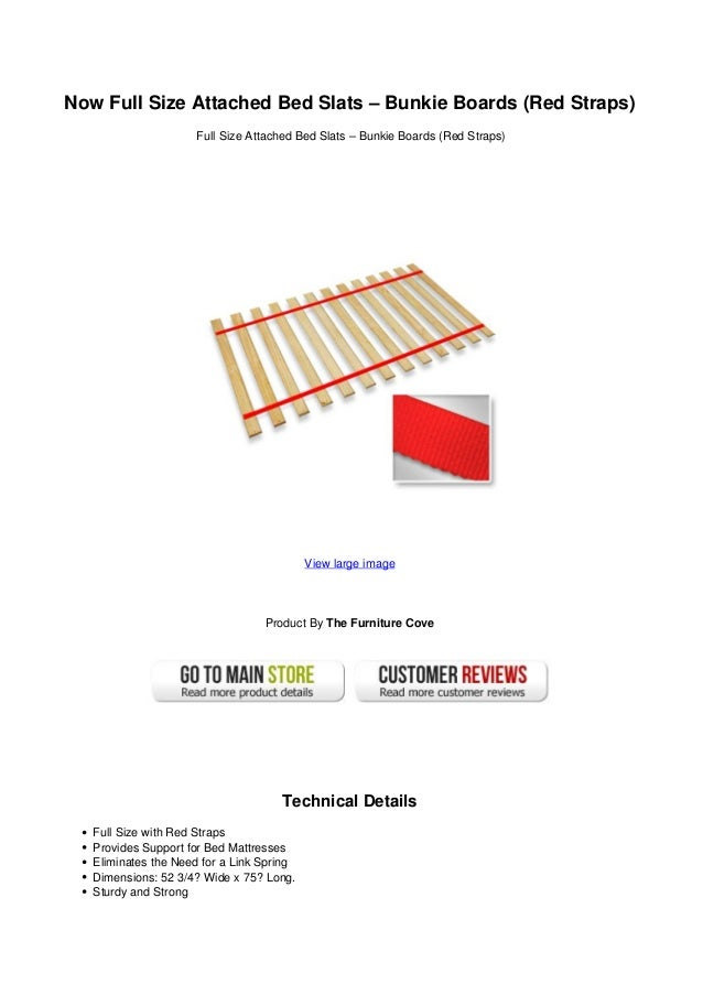 now full size attached bed slats bunkie boards red straps. Black Bedroom Furniture Sets. Home Design Ideas
