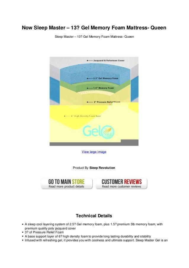 Now sleep master 13 gel memory foam mattress- queen