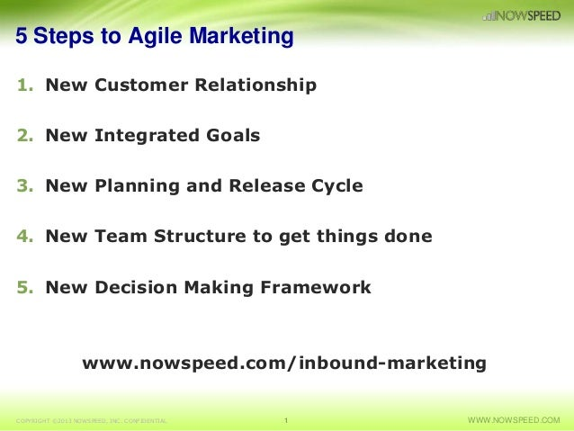 5 Steps to Agile Marketing 1. New Customer Relationship 2. New Integrated Goals 3. New Planning and Release Cycle 4. New T...