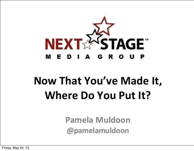 Pamela Muldoon presents: Now That You've Made It Where Do You Put It?