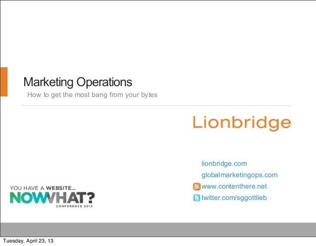 Marketing Operationslionbridge.comglobalmarketingops.comwww.contenthere.nettwitter.com/sggottliebHow to get the most bang ...