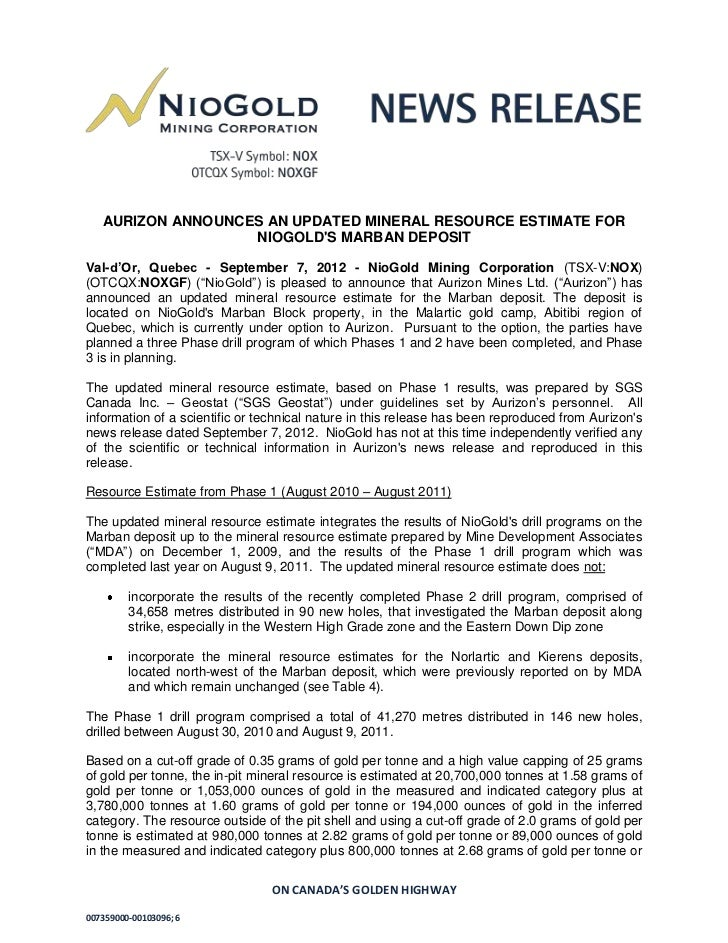 AURIZON ANNOUNCES AN UPDATED MINERAL RESOURCE ESTIMATE FOR                   NIOGOLDS MARBAN DEPOSITVal-d'Or, Quebec - Sep...