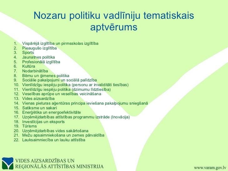Nozaru politiku vadlīniju tematiskais aptvērums <ul><li>1. Vispārējā izglītība un pirmsskolas izglītība </li></ul><ul><li>...