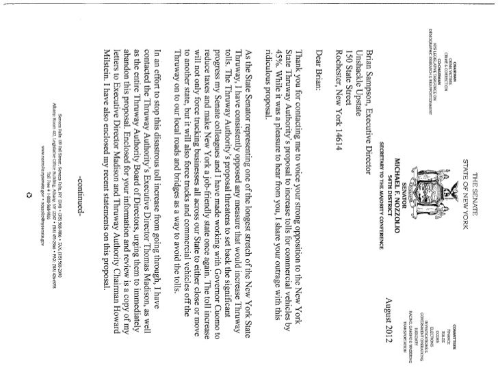 Nozzolio toll hike letter