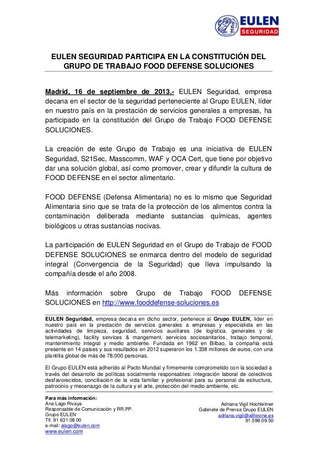 EULEN SEGURIDAD PARTICIPA EN LA CONSTITUCIÓN DEL GRUPO DE TRABAJO FOOD DEFENSE SOLUCIONES Madrid, 16 de septiembre de ...