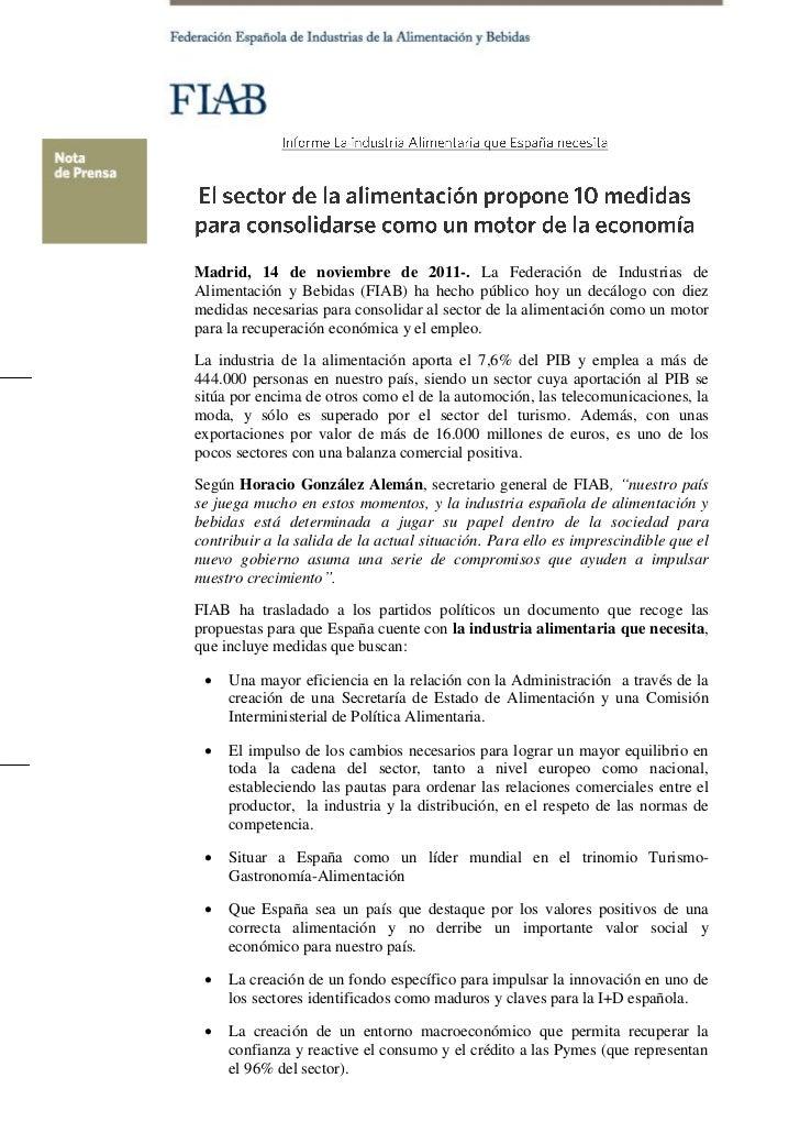 NP 10 medidas para consolidar la alimentación como motor de la economía