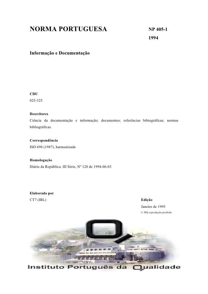 NORMA PORTUGUESA                                                    NP 405-1                                              ...