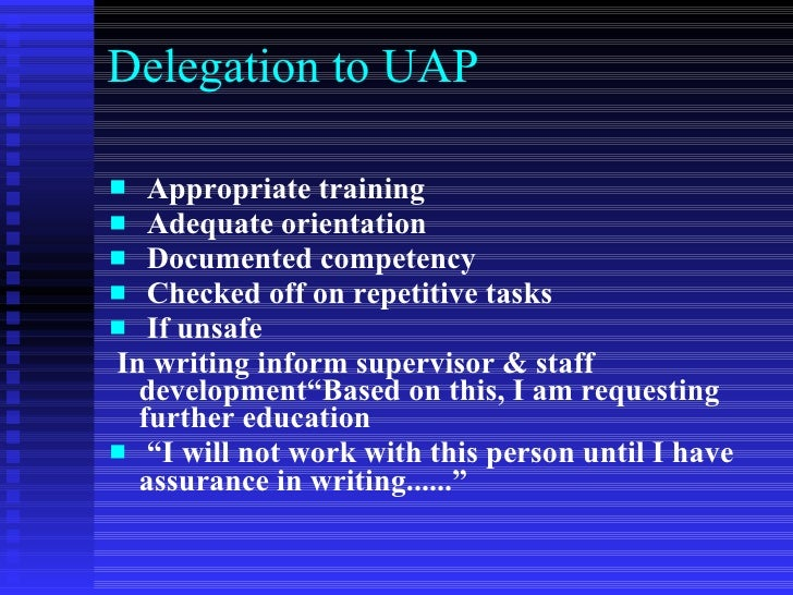 delegation and interdisciplinary care Utilizing the interdisciplinary health careteam rn should know how the work is  delegated or assigned to interdisciplinary team members.