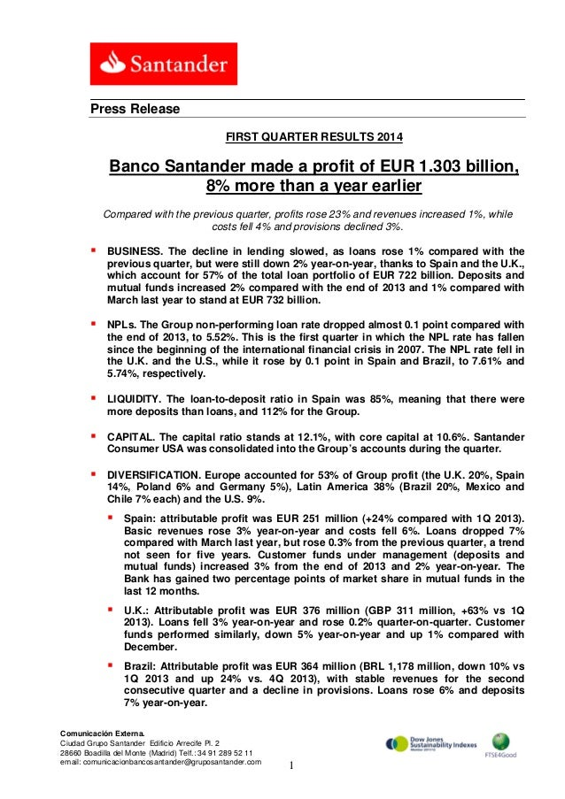 1Q2014 Results : Banco Santander made a profit of EUR 1.303 billion, 8% more than a year earlier