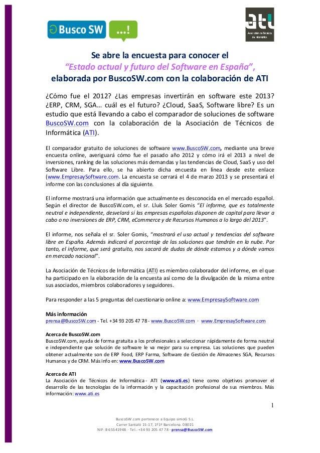 """Se abre la encuesta para conocer el  """"Estado actual y futuro del Software en España"""",  elaborada por BuscoSW.com con la colaboración de ATI"""