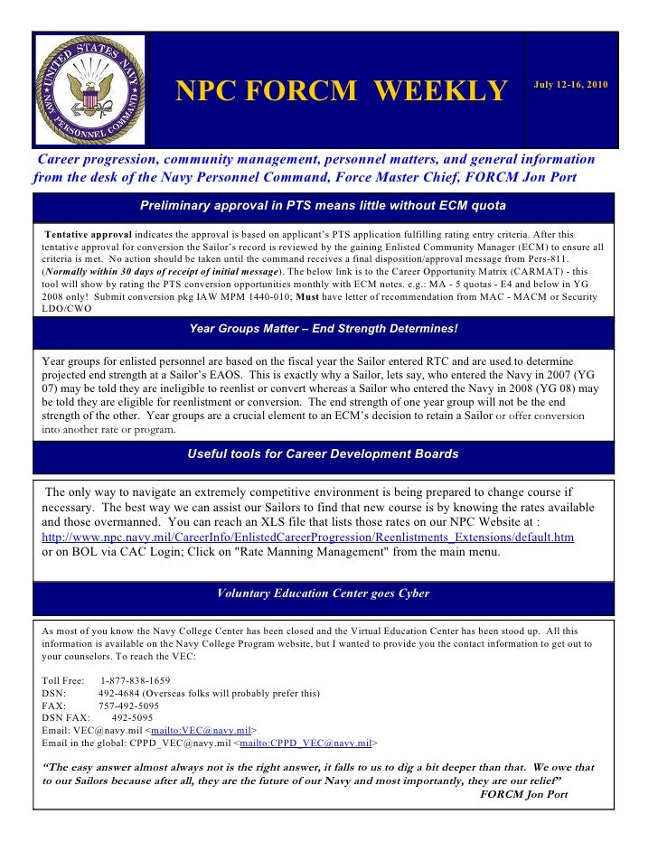 NPC FORCM WEEKLY                                                                   July 12-16, 2010      Career progressio...