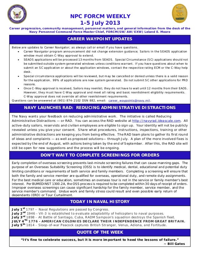 NPC FORCM WEEKLY 1-5 July 2013 Career progression, community management, personnel matters, and general information from t...