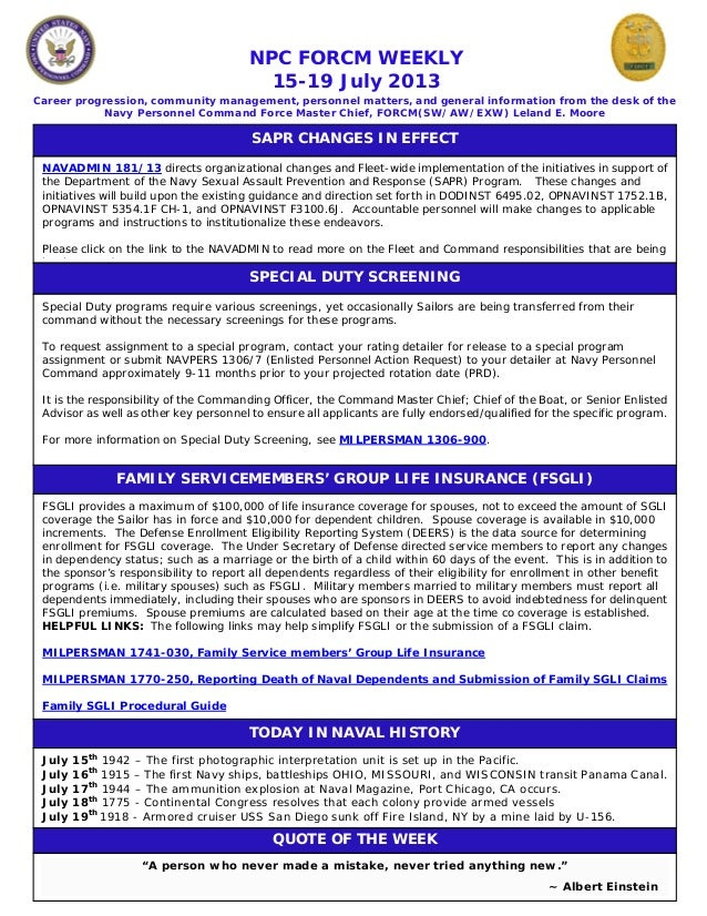 Npc force weekly 15 19 july 2013