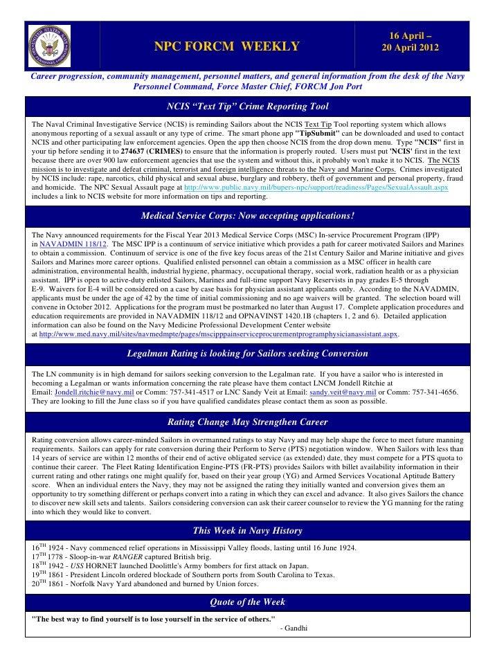 Npc force weekly 16 apr   20 apr 2012