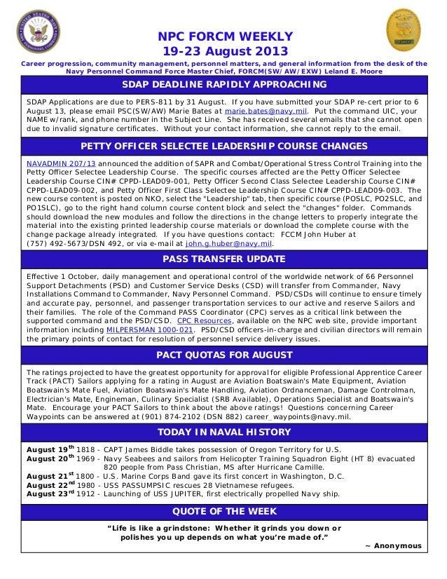 Npc force weekly 19 23 august 2013