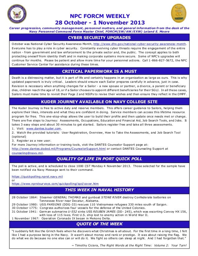 NPC FORCM WEEKLY 28 October - 1 November 2013 Career progression, community management, personnel matters, and general inf...