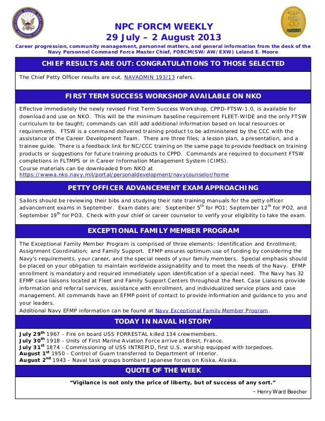 NPC FORCM WEEKLY 29 July – 2 August 2013 Career progression, community management, personnel matters, and general informat...