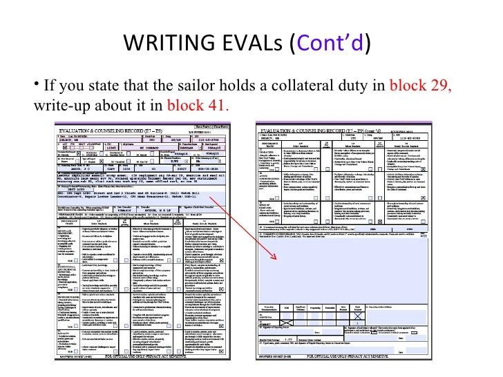 Navy evaluation writing