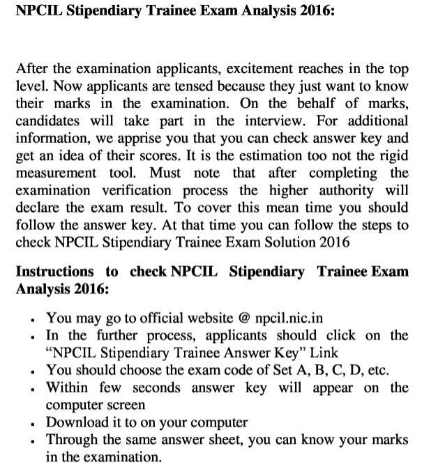 Npcil stipendiary trainee govt job 2016 exam answer key check result