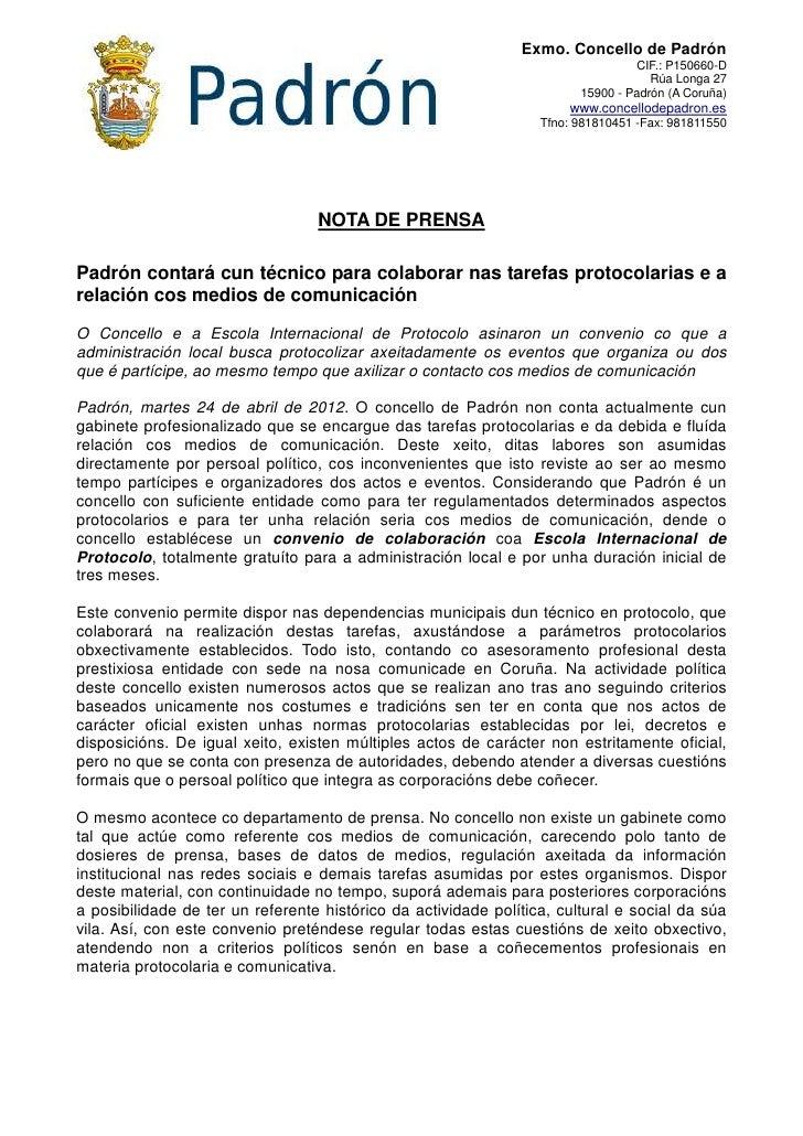 Exmo. Concello de Padrón                                                                                  CIF.: P150660-D ...