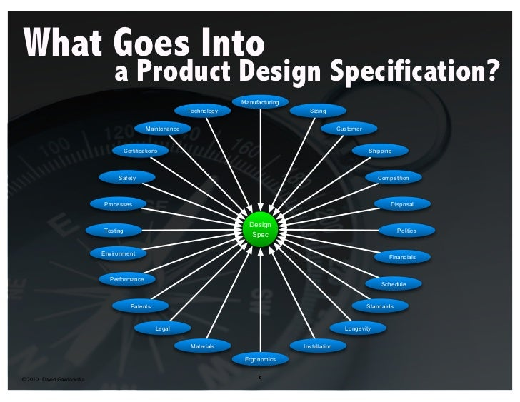 What Goes Into                        a Product Design Specification?©2010 David Gawlowski              5