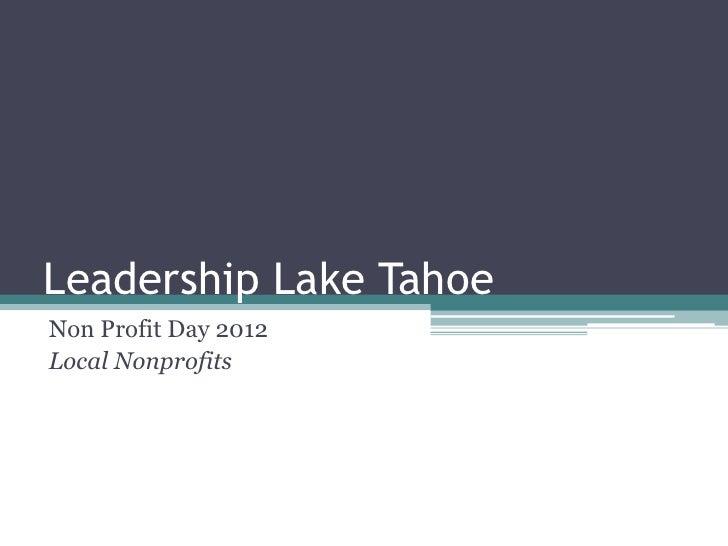 Leadership Lake TahoeNon Profit Day 2012Local Nonprofits