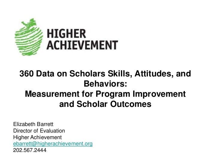 360 Data on Scholars' Behavior, Skills and Attitudes: Measurement for Program Improvement and Scholar Outcomes