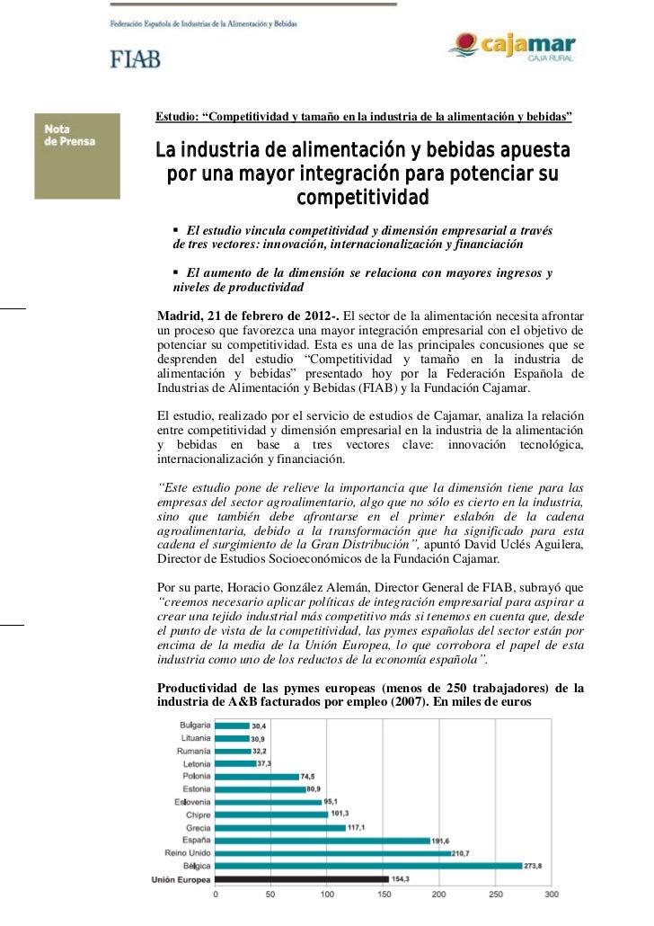 Np Estudio Competitividad y Tamaño Industria de FIAB y Cajamar