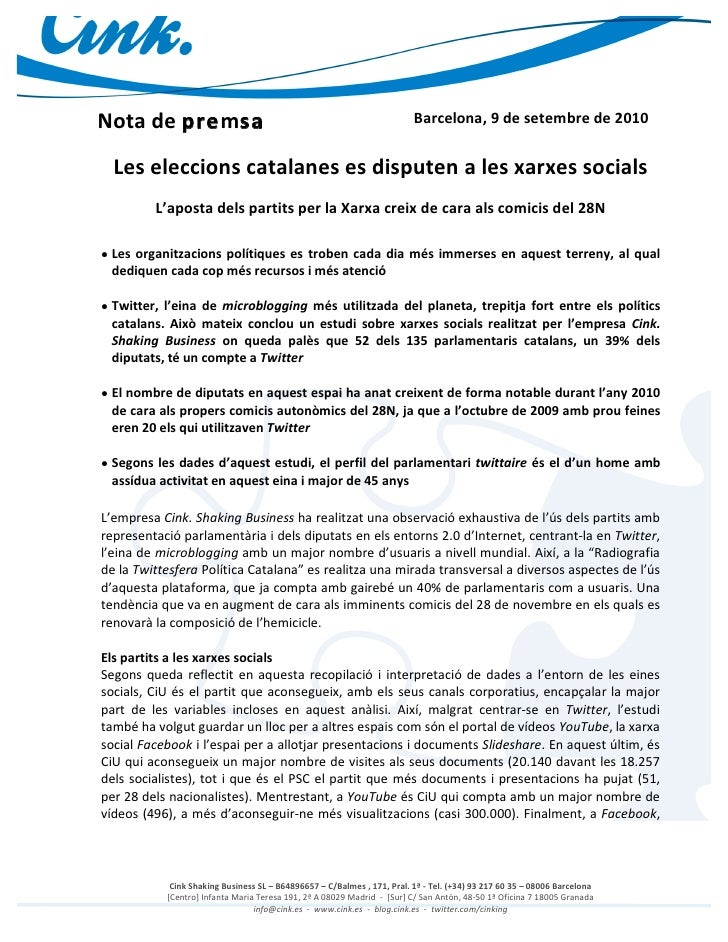 Nota Premsa Estudi Xarxes Socials Parlament Catalunya