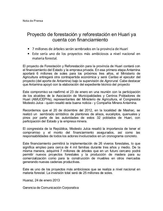 Nota de Prensa   Proyecto de forestación y reforestación en Huari ya              cuenta con financiamiento   • 7 millones...