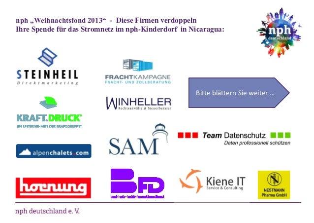 """nph """"Weihnachtsfond 2013"""" - Diese Firmen verdoppeln Ihre Spende für das Stromnetz im nph-Kinderdorf in Nicaragua:  Bitte b..."""