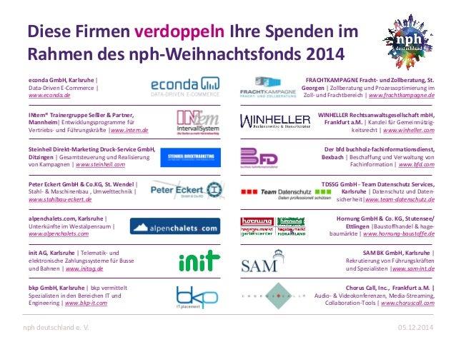 Diese Firmen verdoppeln Ihre Spenden im Rahmen des nph-Weihnachtsfonds 2014  05.12.2014  nph deutschland e. V.  econda Gmb...