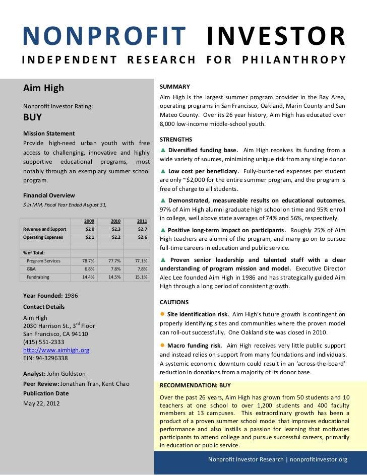 NONPROFIT INVESTORINDEPENDENT RESEARCH FOR PHILANTHROPYAim High                                                SUMMARY    ...
