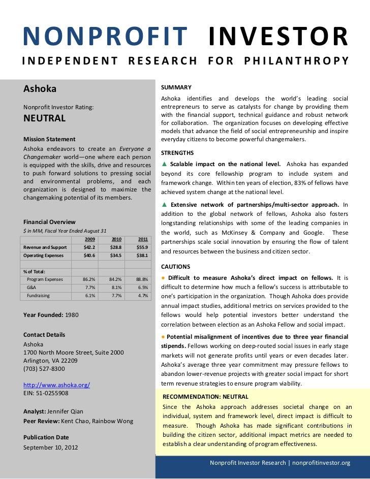 NPI Evaluation of Ashoka