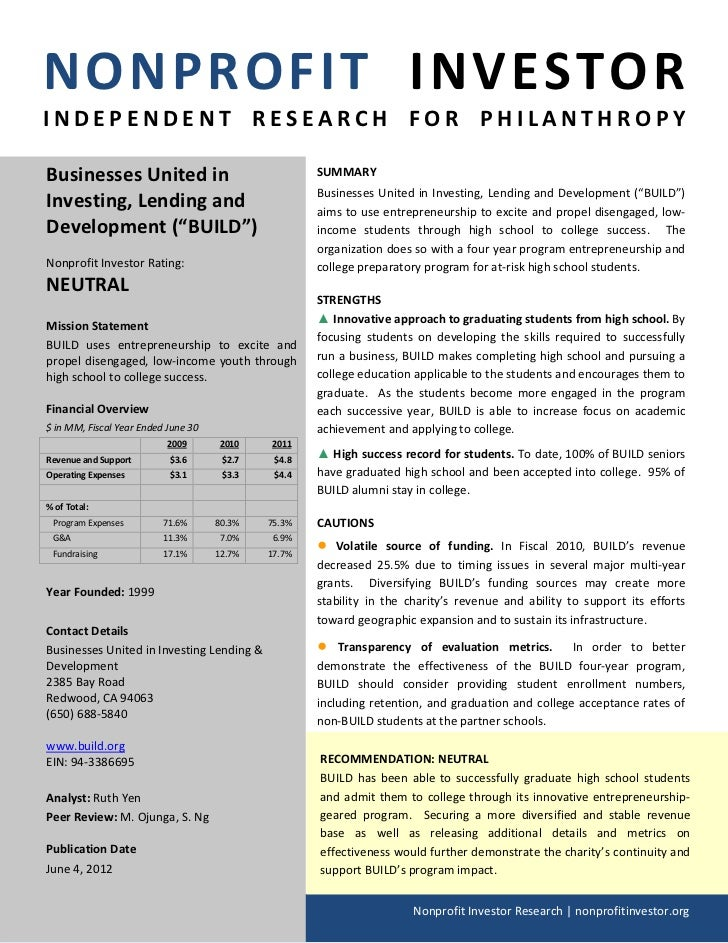 NONPROFIT INVESTORINDEPENDENT RESEARCH FOR PHILANTHROPYBusinesses United in                                 SUMMARY       ...