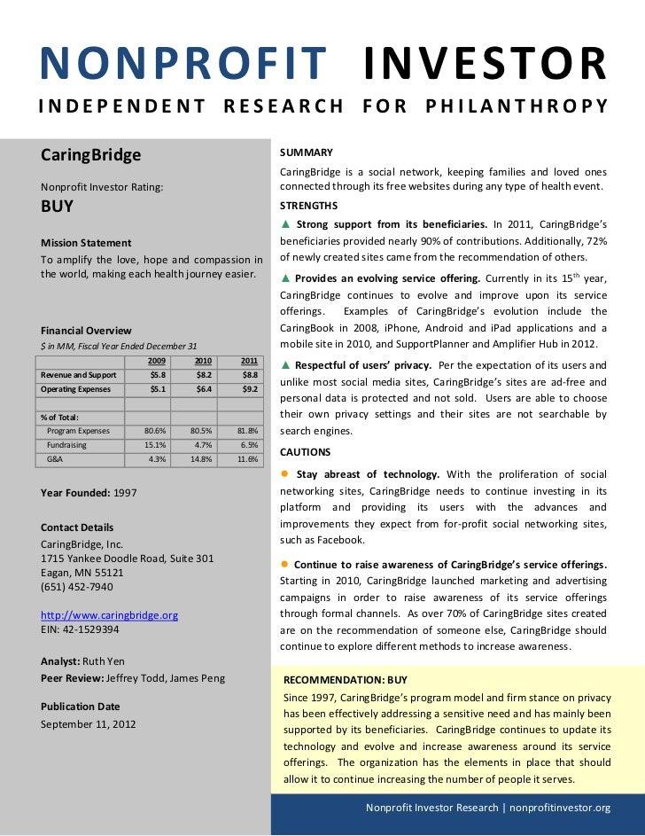 NPI Evaluation of CaringBridge