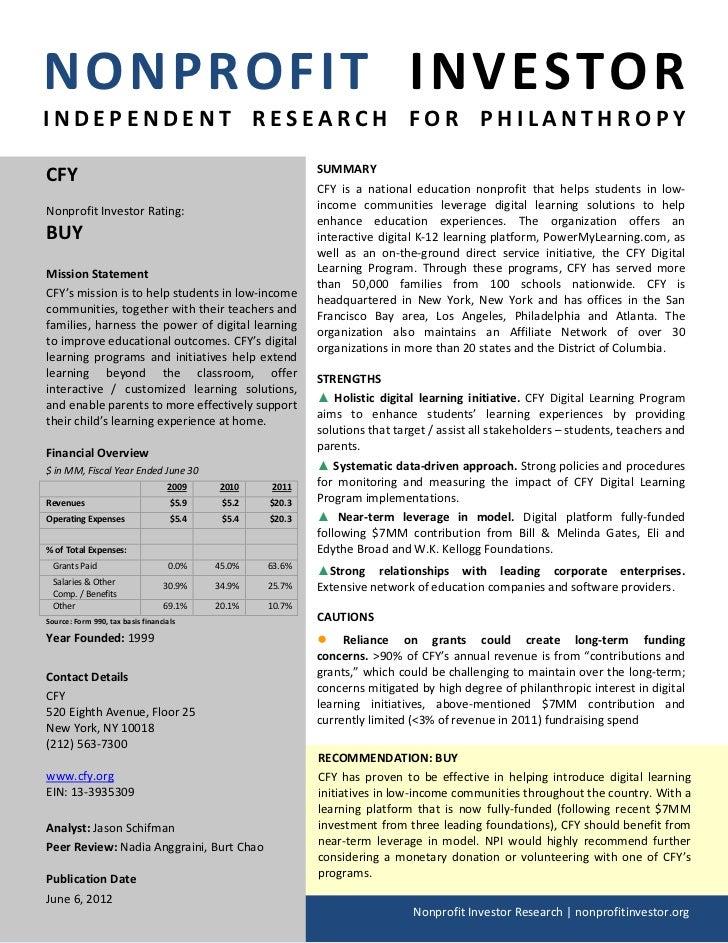 NPI Evaluation of CFY