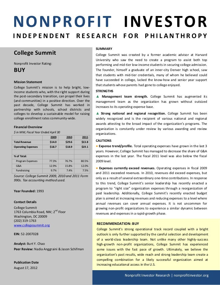 NONPROFIT INVESTORINDEPENDENT RESEARCH FOR PHILANTHROPY                                                        SUMMARYColl...