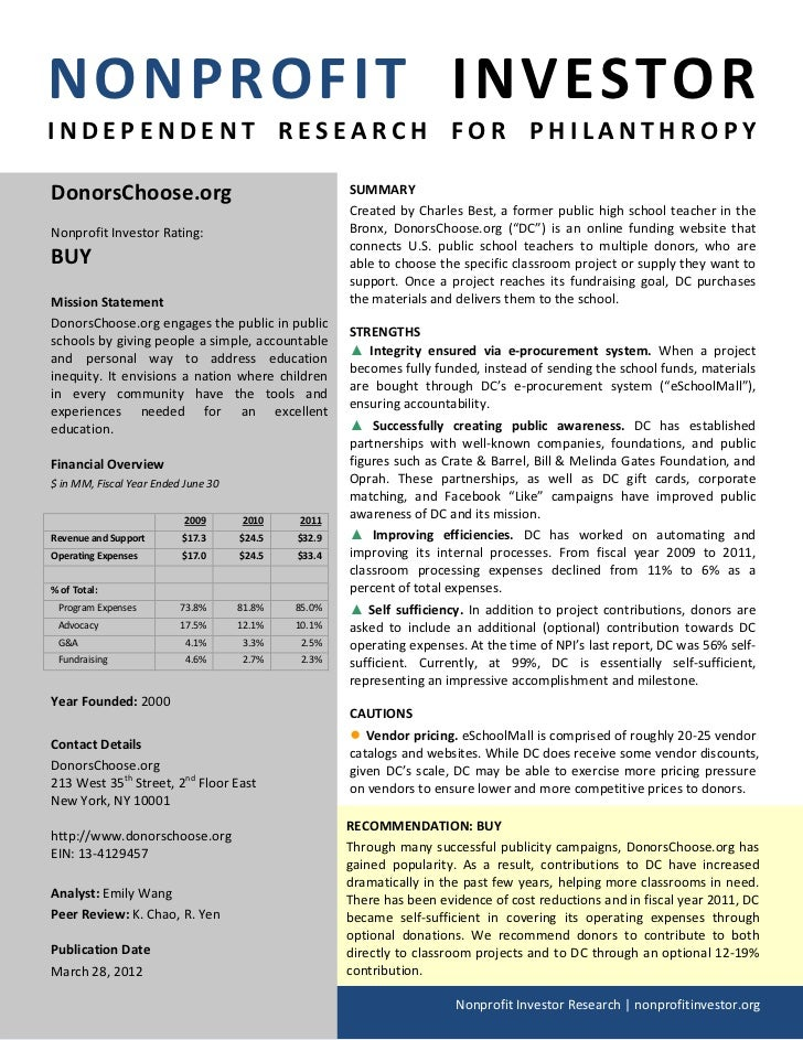 NONPROFIT INVESTORINDEPENDENT RESEARCH FOR PHILANTHROPYDonorsChoose.org                                     SUMMARY       ...