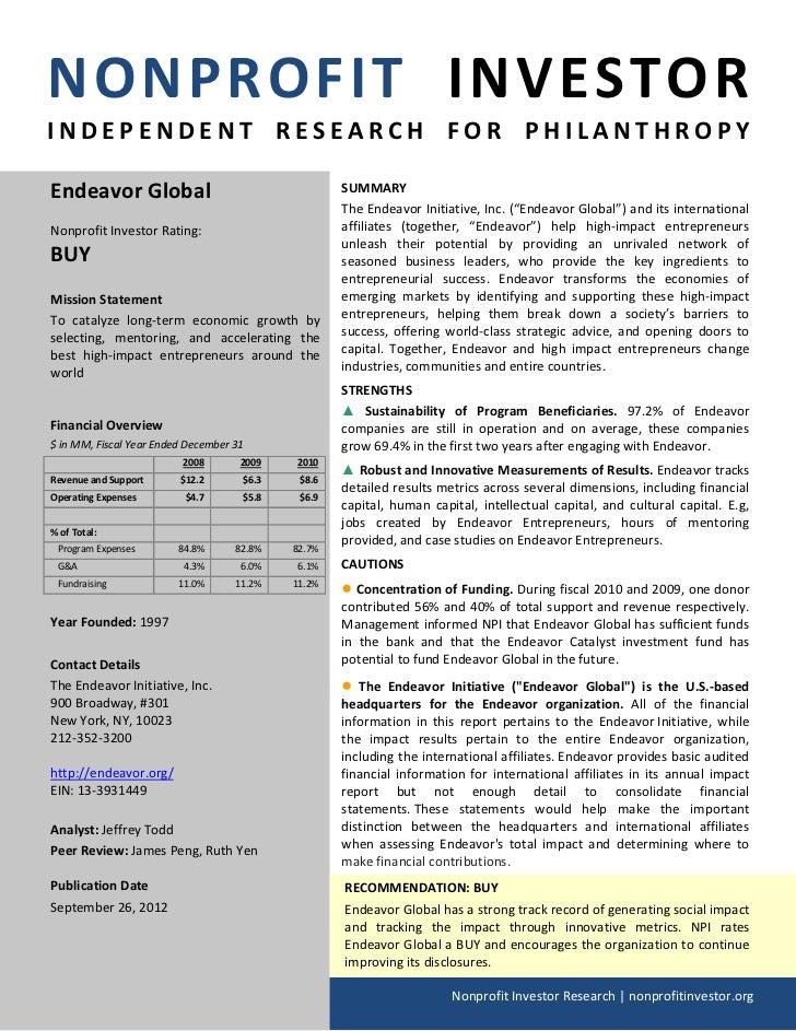 NPI Evaluation of Endeavor Global