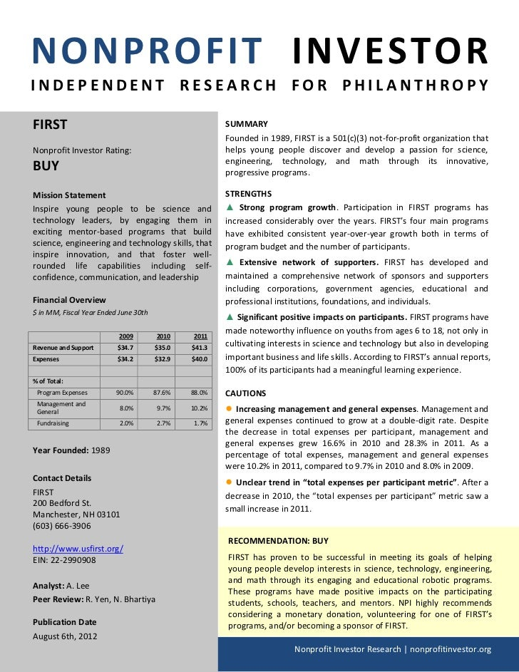 NONPROFIT INVESTORINDEPENDENT RESEARCH FOR PHILANTHROPYFIRST                                                  SUMMARY     ...