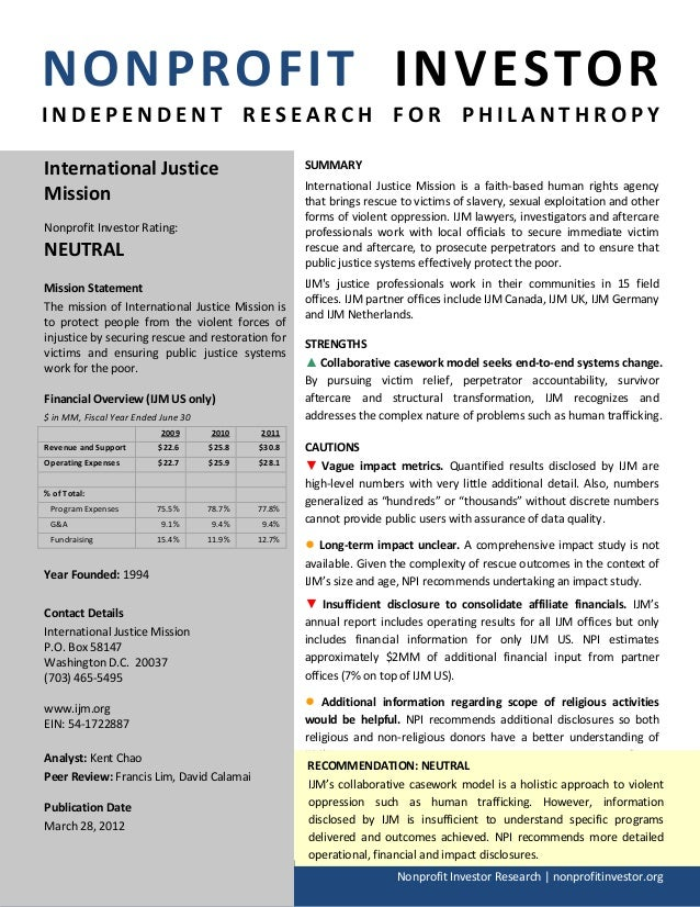 NONPROFIT INVESTORINDEPENDENT RESEARCH FOR PHILANTHROPYInternational Justice                                SUMMARY       ...
