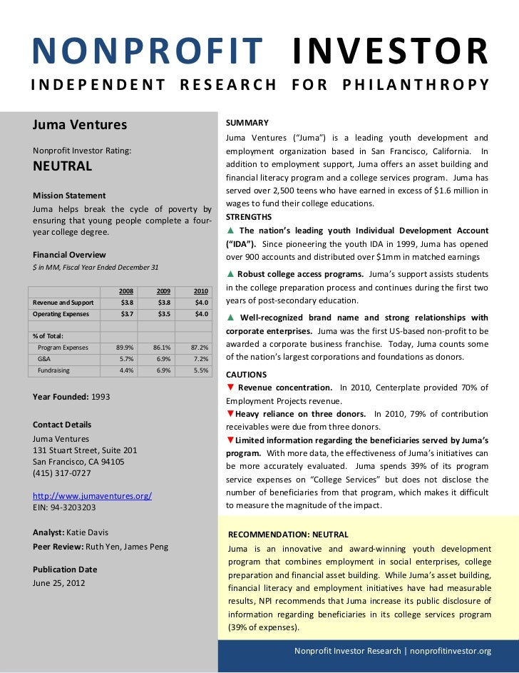 NONPROFIT INVESTORINDEPENDENT RESEARCH FOR PHILANTHROPYJuma Ventures                                       SUMMARY        ...