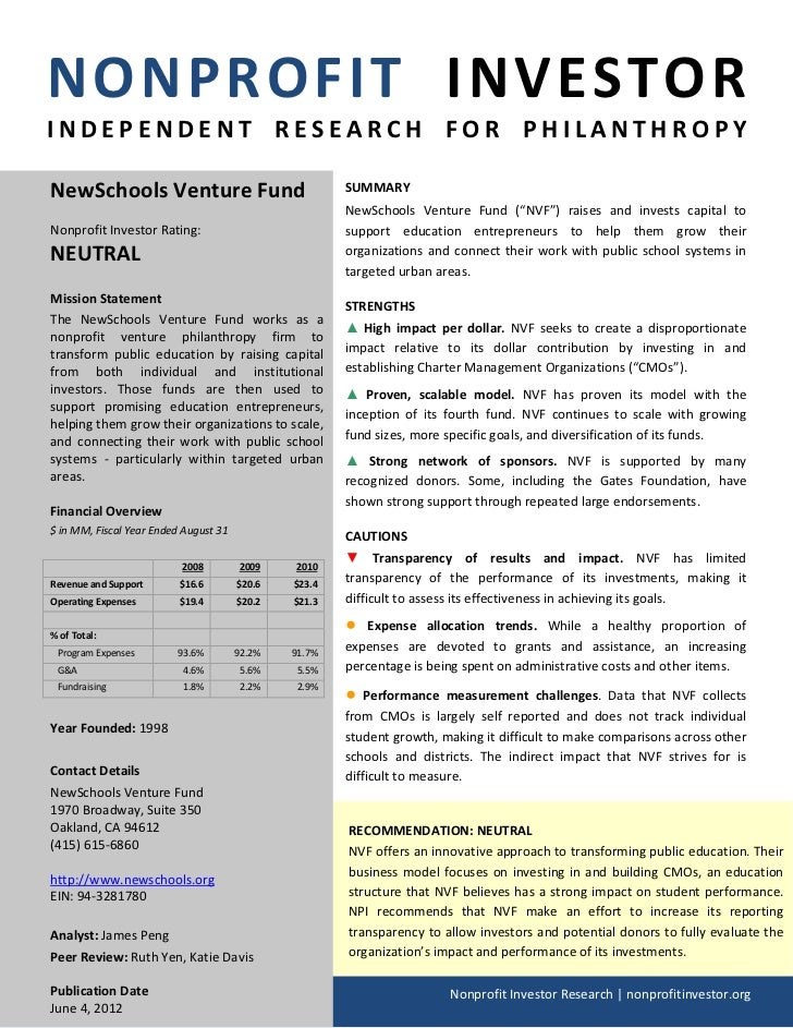 NONPROFIT INVESTORINDEPENDENT RESEARCH FOR PHILANTHROPYNewSchools Venture Fund                                SUMMARY     ...